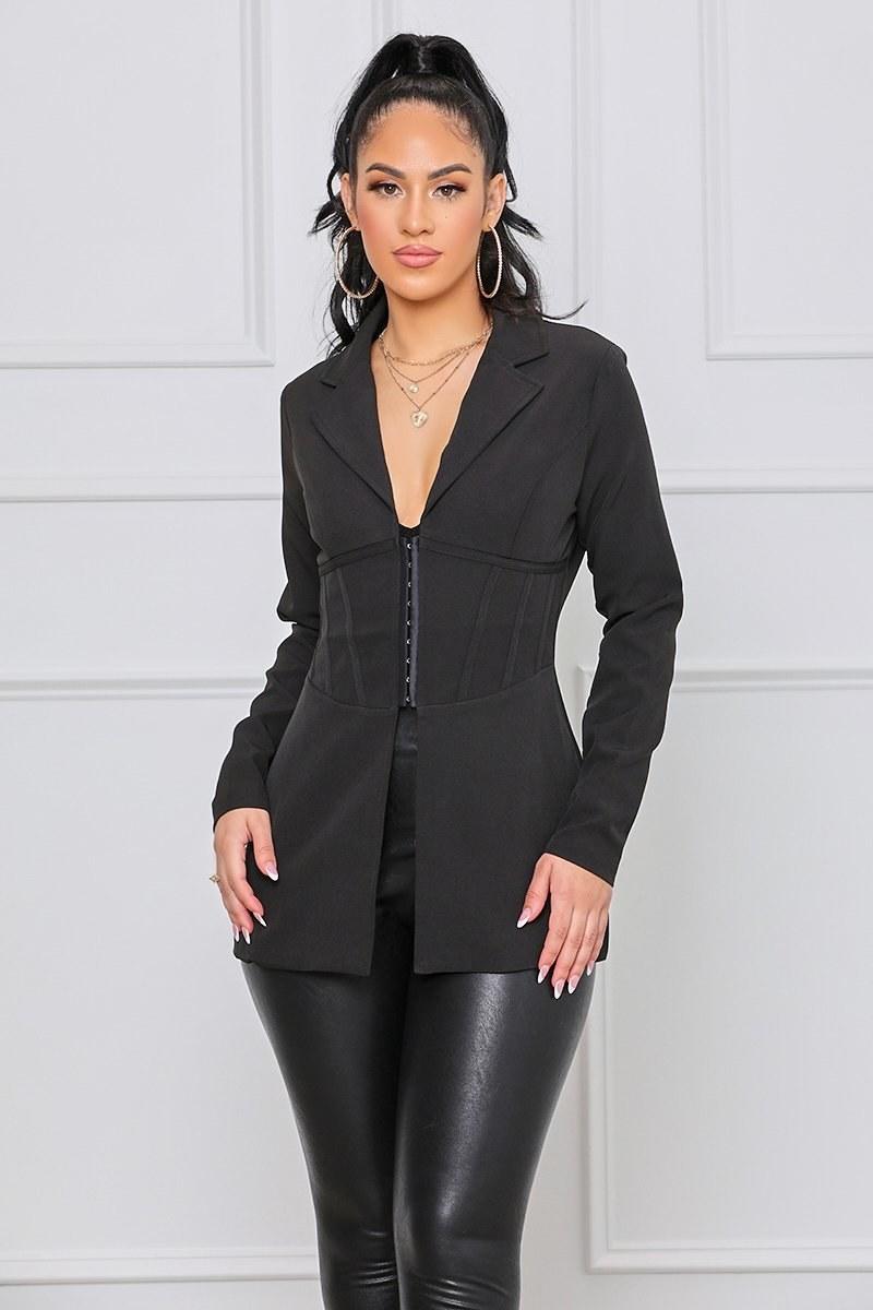 model wearing the black blazer