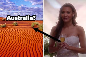 """A bright desert in Australia and Santana Lopez holds a glass of champagne at wedding in """"Glee"""""""