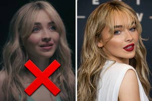 Sabrina Carpenter is marked with an X on the left while turned to the back on the right
