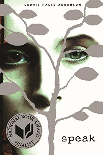 Book cover shows a photo of a girl with a gray tree obscuring her face