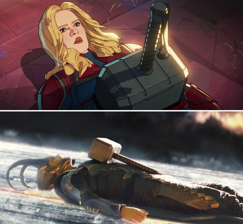 Captain Marvel laying underneath Thor's hammer vs Loki doing the same