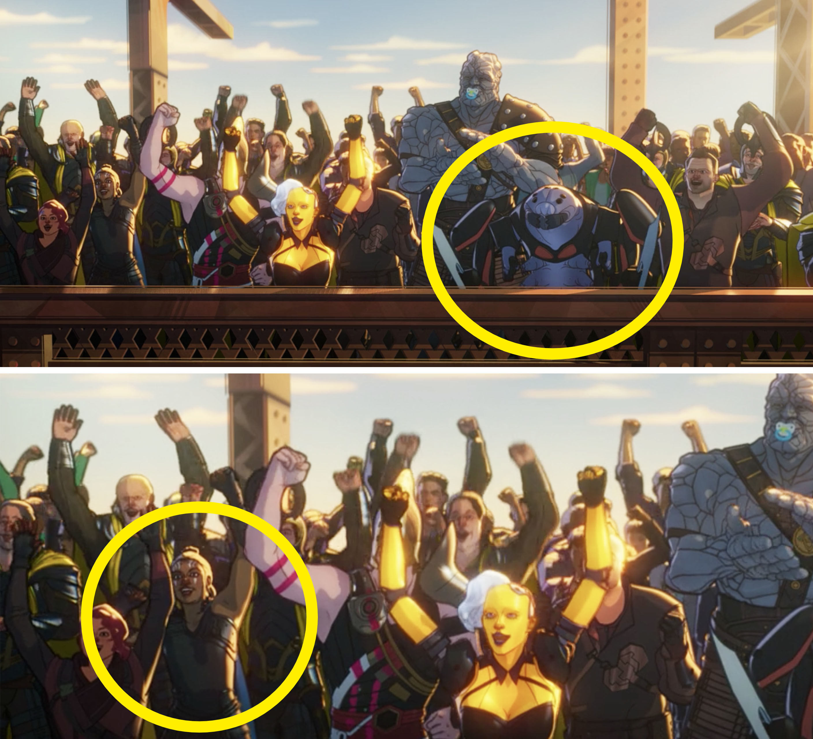 A close-up of Miek and Valkyrie in the crowd