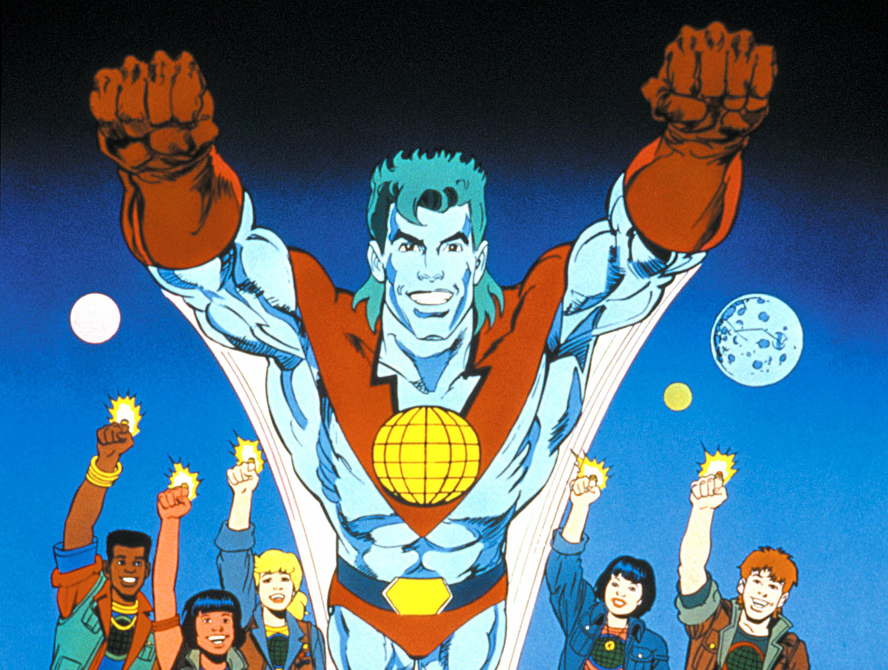 Captain Planet with both fists raised