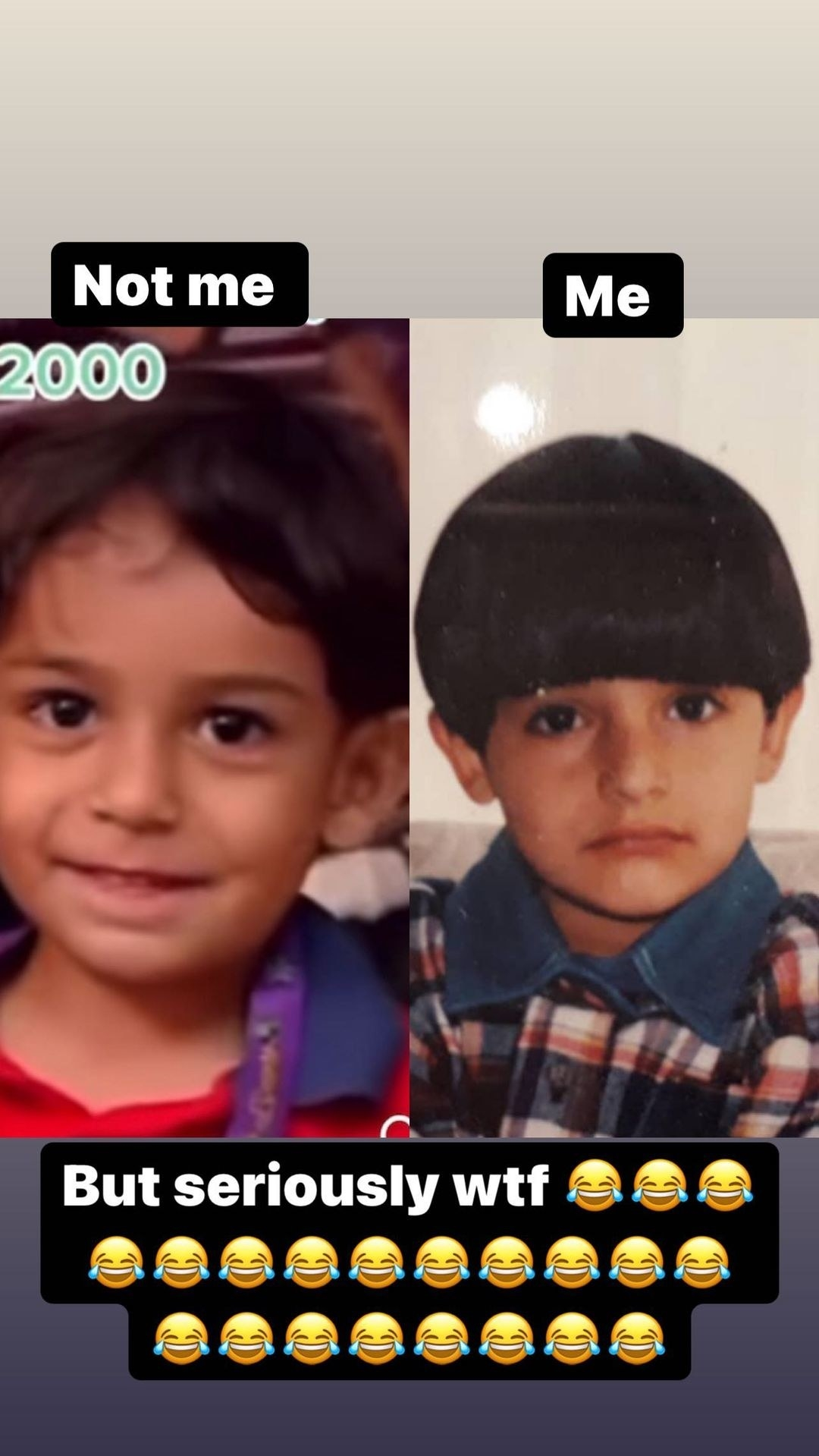 A side by side of the little boy on the left and Sam around that same age on the right