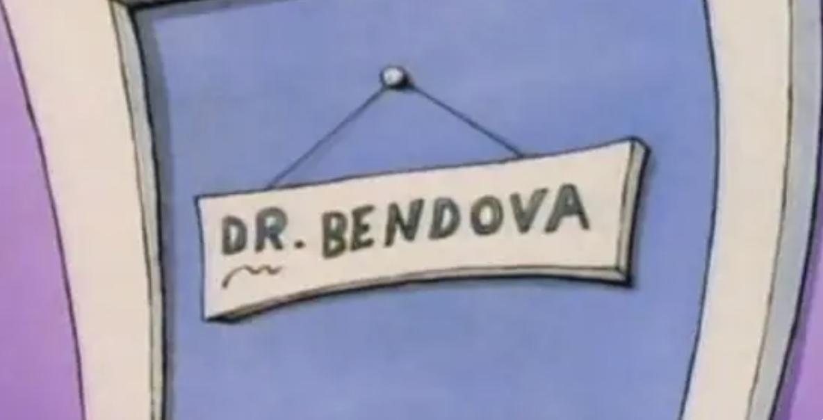 A sign for a doctor named Dr. Bendova
