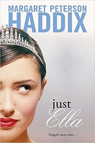 """Book cover shows close up of a girl in a tiara with author name at top in blue and title text in black and white cursive script and a tagline that reads """"Happily never after..."""""""