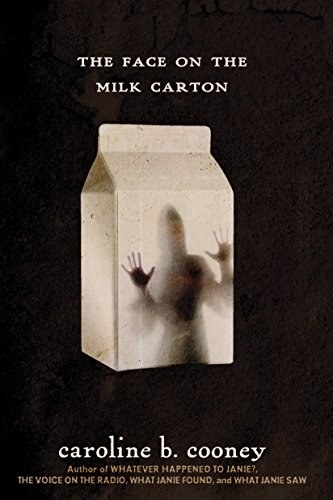 Book cover shows shadow of a girl against an old fashioned milk carton with title text above and author name at bottom