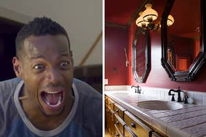 Marlon Wayans is on the left screaming with a view of a bathroom counter on the right