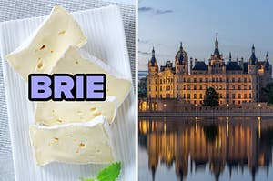 On the left, slices of brie cheese, and on the right, a grand castle at sunset with a body of water in front of it