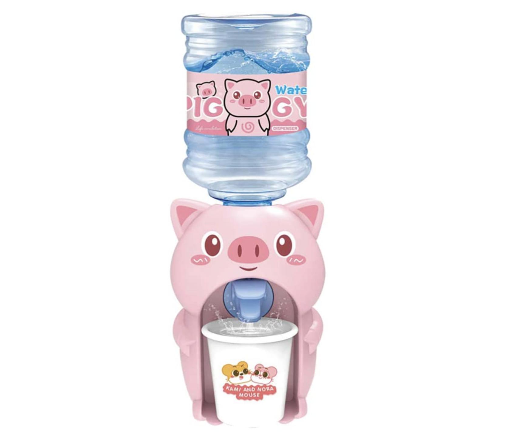 Mini dispensador de agua con forma de cerdito rosa