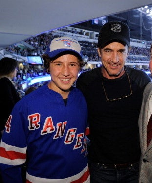 son Clyde in a Ranger's jersey