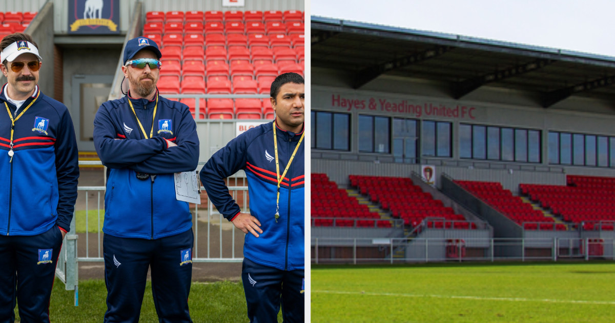 Ted, Beard, and Nate standing in front of bleachers and a photo the real Hayes and Yeading FC stadium