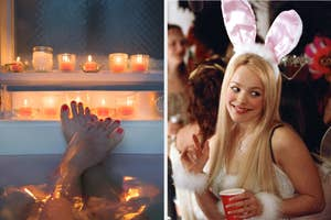 On the left, a closeup of someone's feet in a tub next to some candles, and on the right, Regina George wearing a bunny costume at the Halloween party