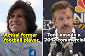"""Dani Rojas with caption """"Actual former football player"""" and Ted Lasso in a 2012 NBC Sports commercial"""