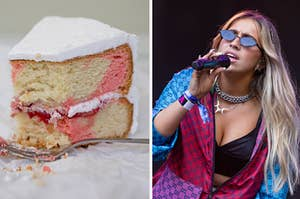 a slice of strawberry cake on the left and tate mcrae on the right