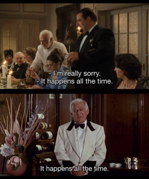 The server saying, It happens all the time in The Princess Diaries, and the server saying I happens all the time in Pretty Woman