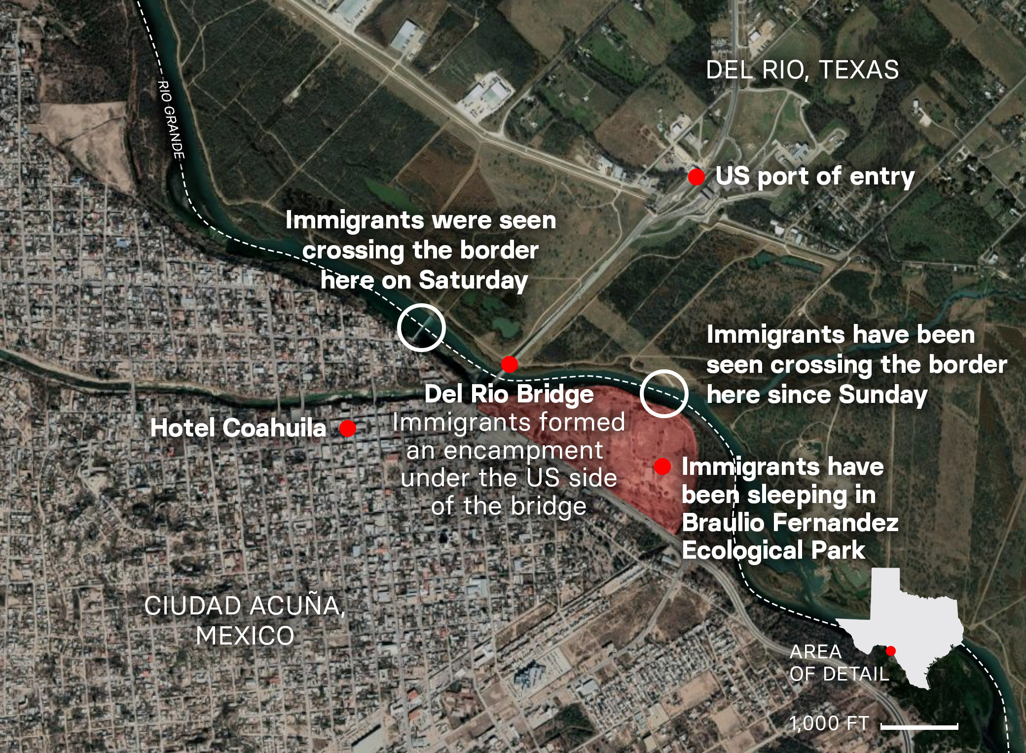 A map of the border between Mexico and the US and relevant locations around Ciudad Acuña, Mexico