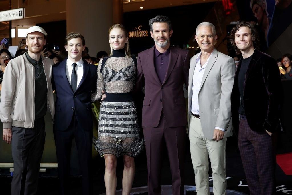 "(L-R) Michael Fassbender, Tye Sheridan, Sophie Turner, director Simon Kinberg, producer Hutch Parker and Evan Peters attend the South Korean premiere of ""X-Men: Dark Phoenix"""