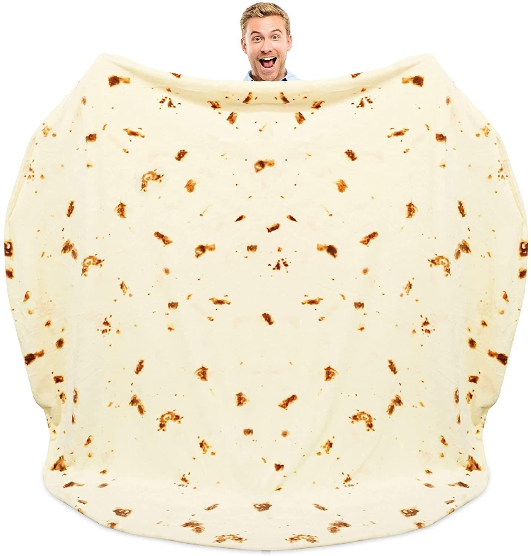 Cobija gigante en forma de tortilla