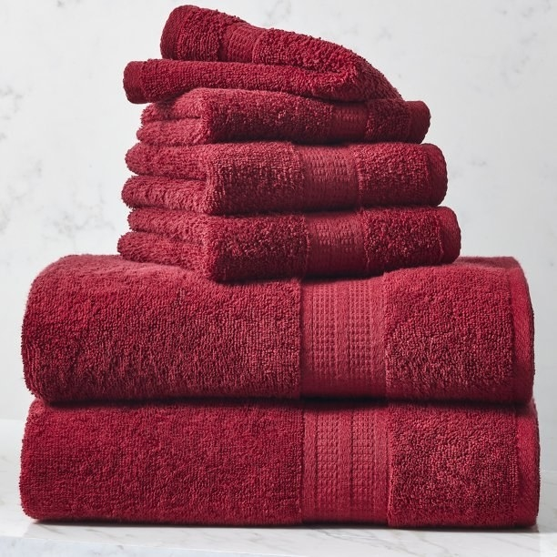 the towels in red