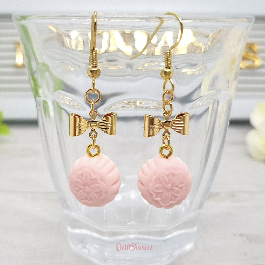 Pink Mooncake Earrings with bows