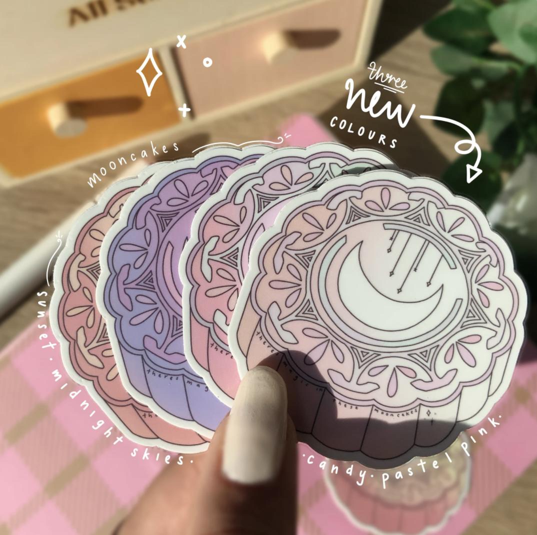 Cute mooncake designs as stickers.