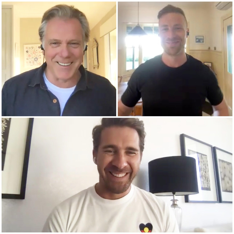 Erik Thomson, Angus McLaren and Hugh Sheridan smiling while on a Zoom call