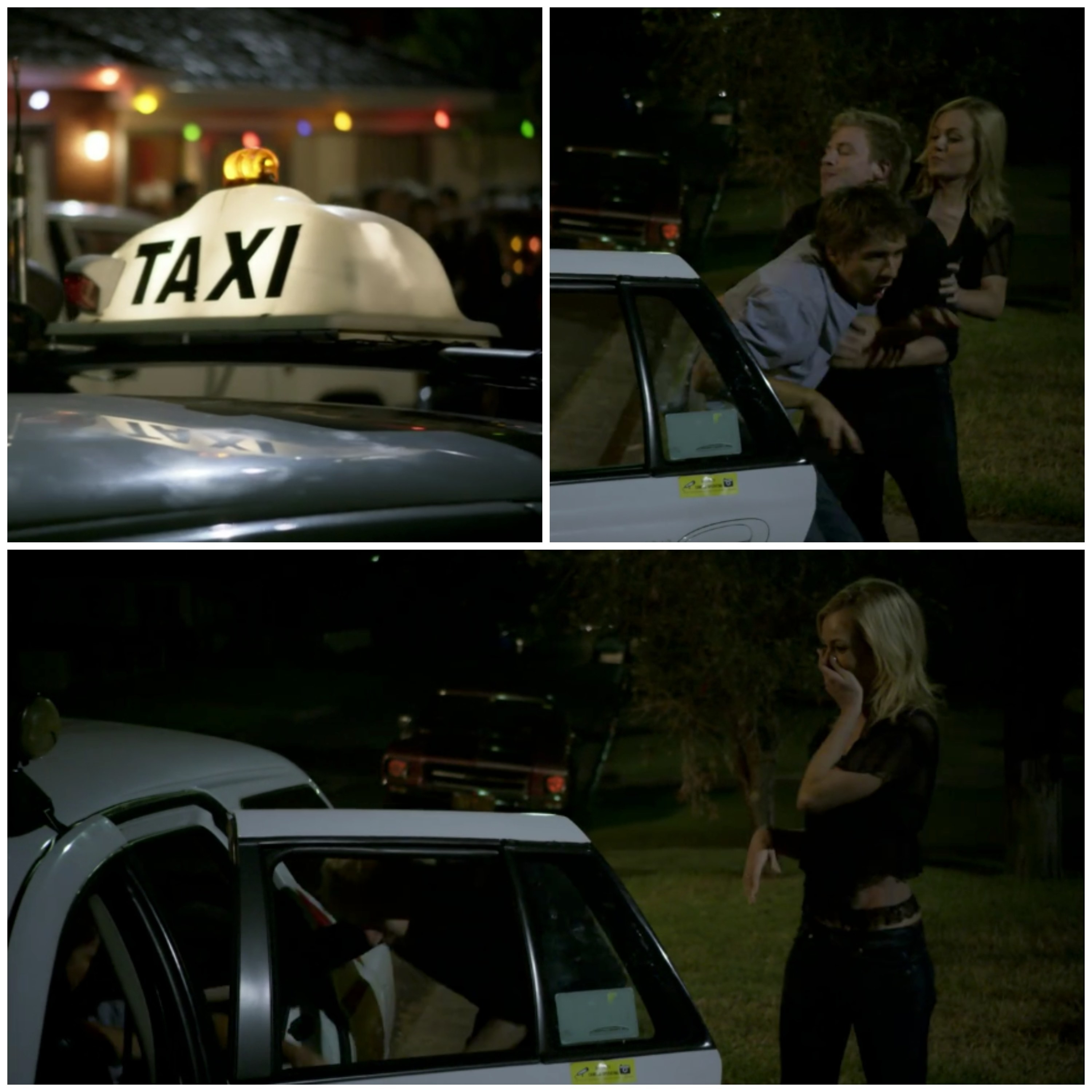 A three-way collage showing a taxi and then Angus and Jess trying to get Hugh into it as part of a scene from Packed To The Rafters