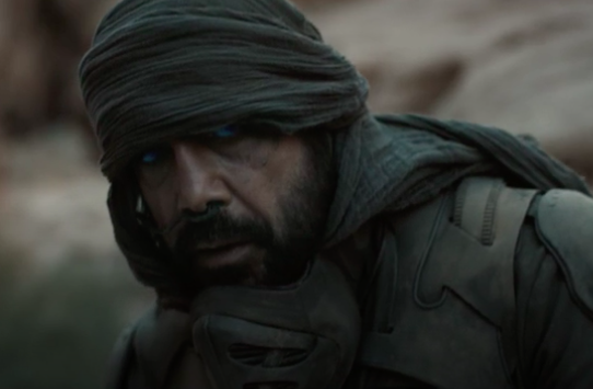 """Javier in a still from """"Dune,"""" he wears a head-wrap, has blue contacts, and wears a rubber-like armor with a matching mask hanging below his neck"""