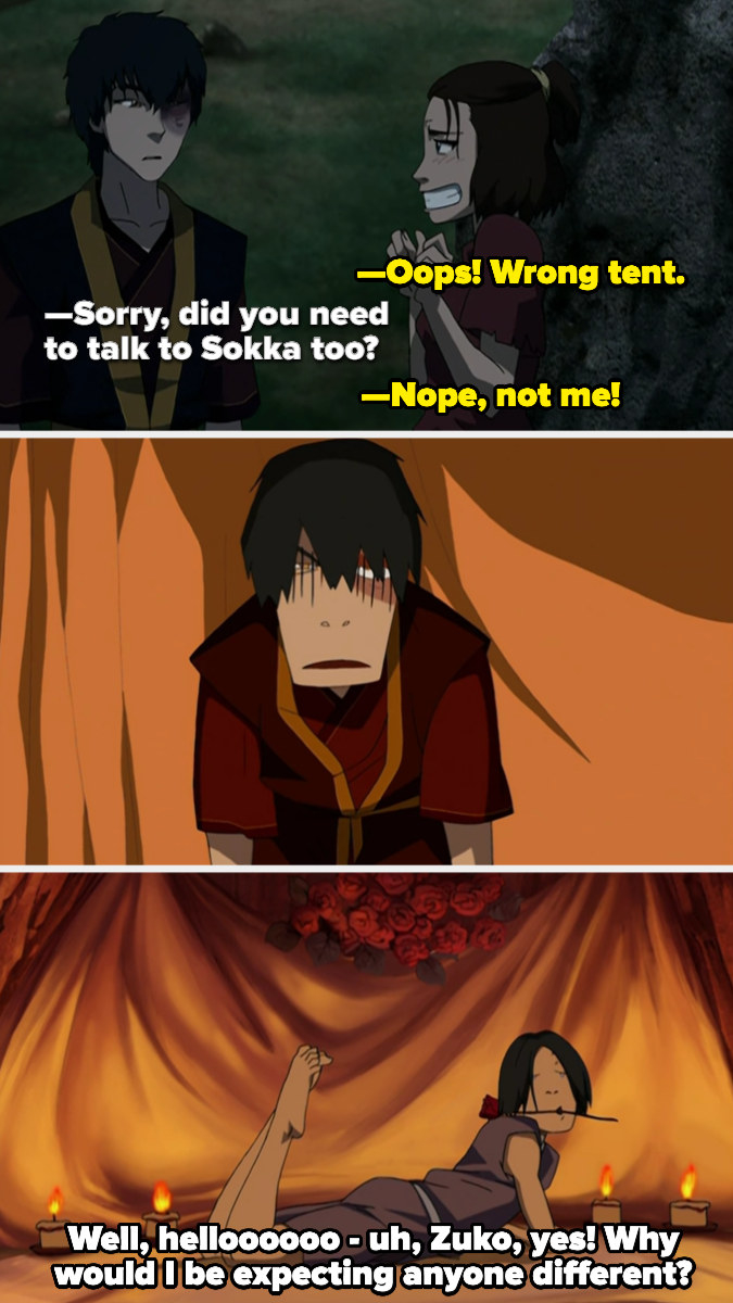 Zuko walks in on Sokka, who is surrounded by roses and lit candles