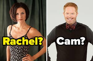 monica geller on the left with rachel written under her and mitchell pritchett on the right with cam written under him