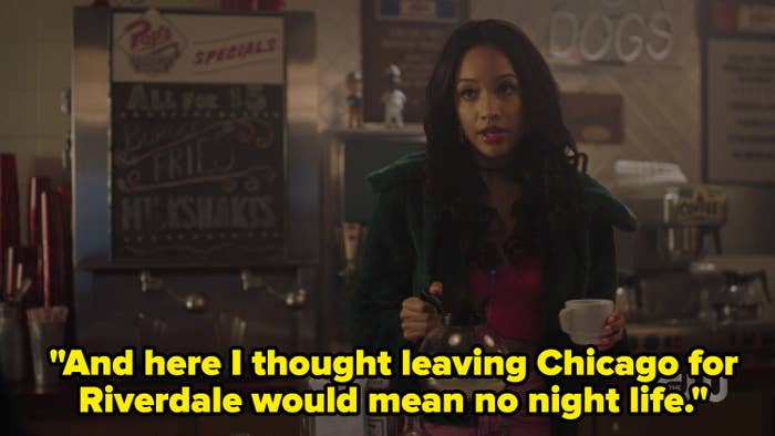Tabitha with the caption, and here I thought leaving chicago for riverdale would mean no night life