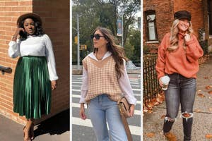 left image: reviewer wearing green iridescent skirt, middle image: reviewer wearing houndstooth sweater vest, right image: reviewer wearing turtleneck sweater