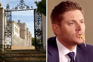 an english manor on the left and dean from supernatural eating spaghetti on the right