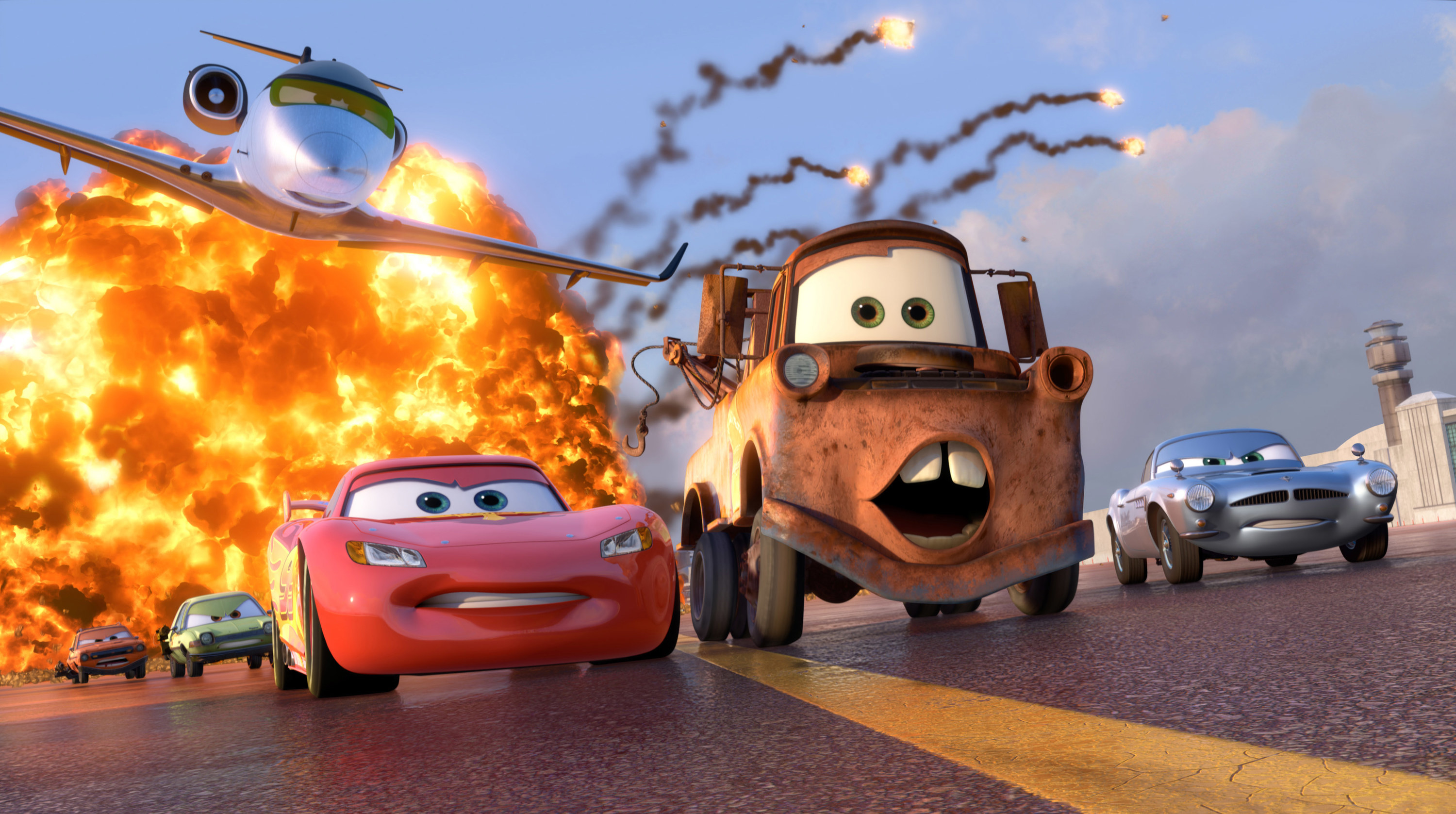 Grem, Acer, and Siddeley chasing Lightning McQueen, Mater, and Finn McMissile