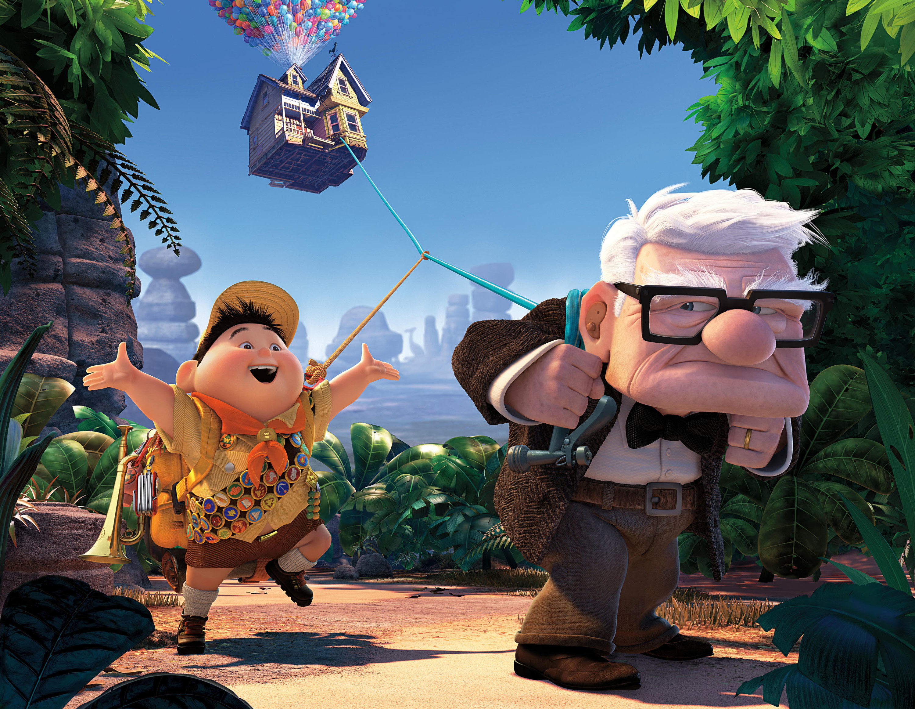 Russell singing and walking behind Carl Fredricksen who is pulling his house attached on a string
