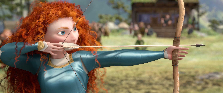 Merida preparing to shoot an arrow