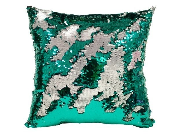 the reversible sequins pillow with green and silver