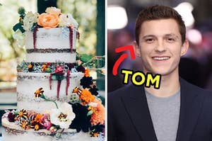 On the left, a three-tiered wedding cake topped with various fall flowers, and on the right, Tom Holland with an arrow pointing to him and Tom typed next to his face