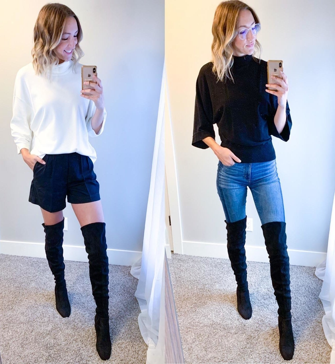 a reviewer wearing the black boots with a skirt and with jeans