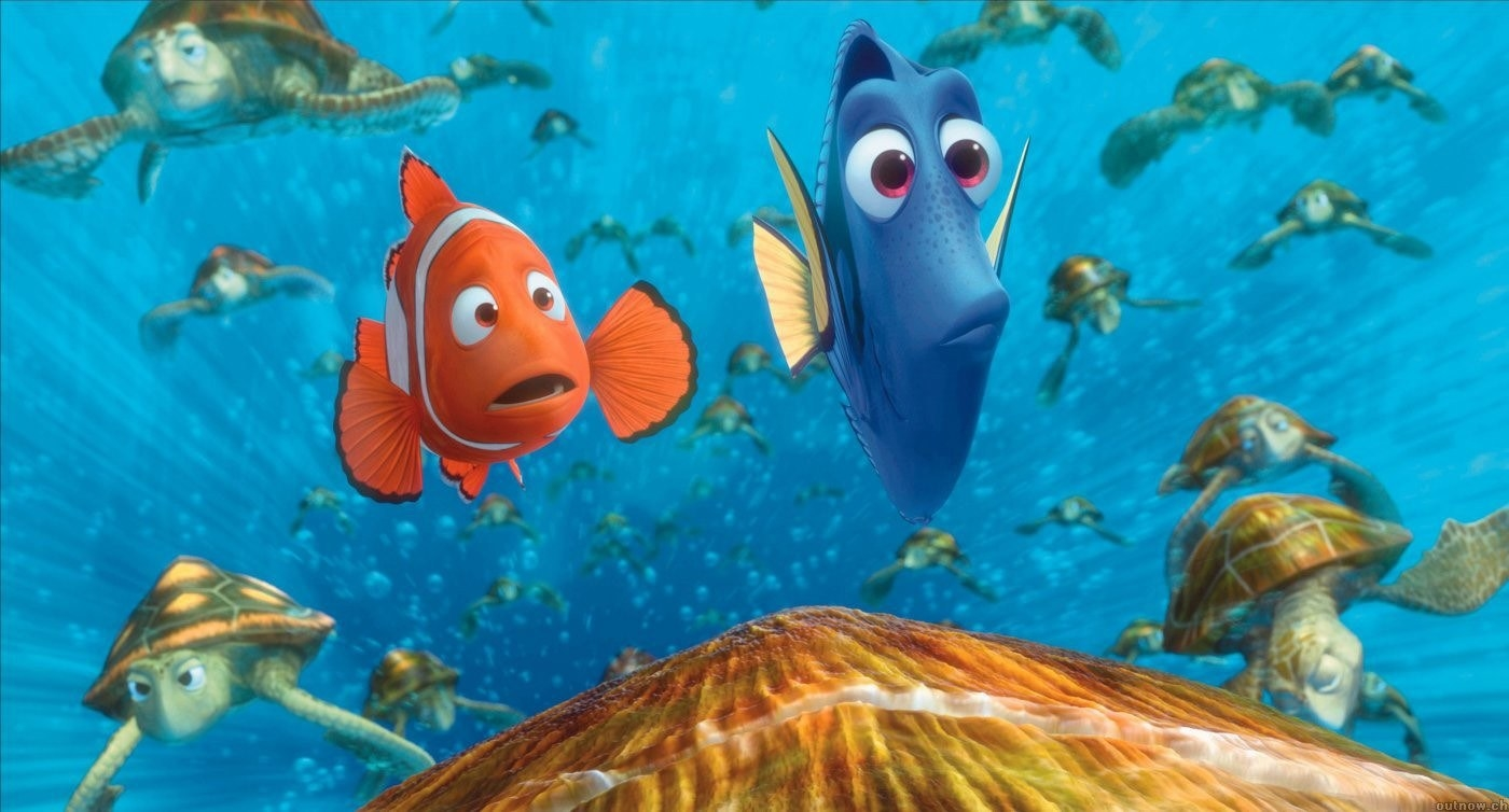Marlin and Dory riding on Crush through theEast Australian Current