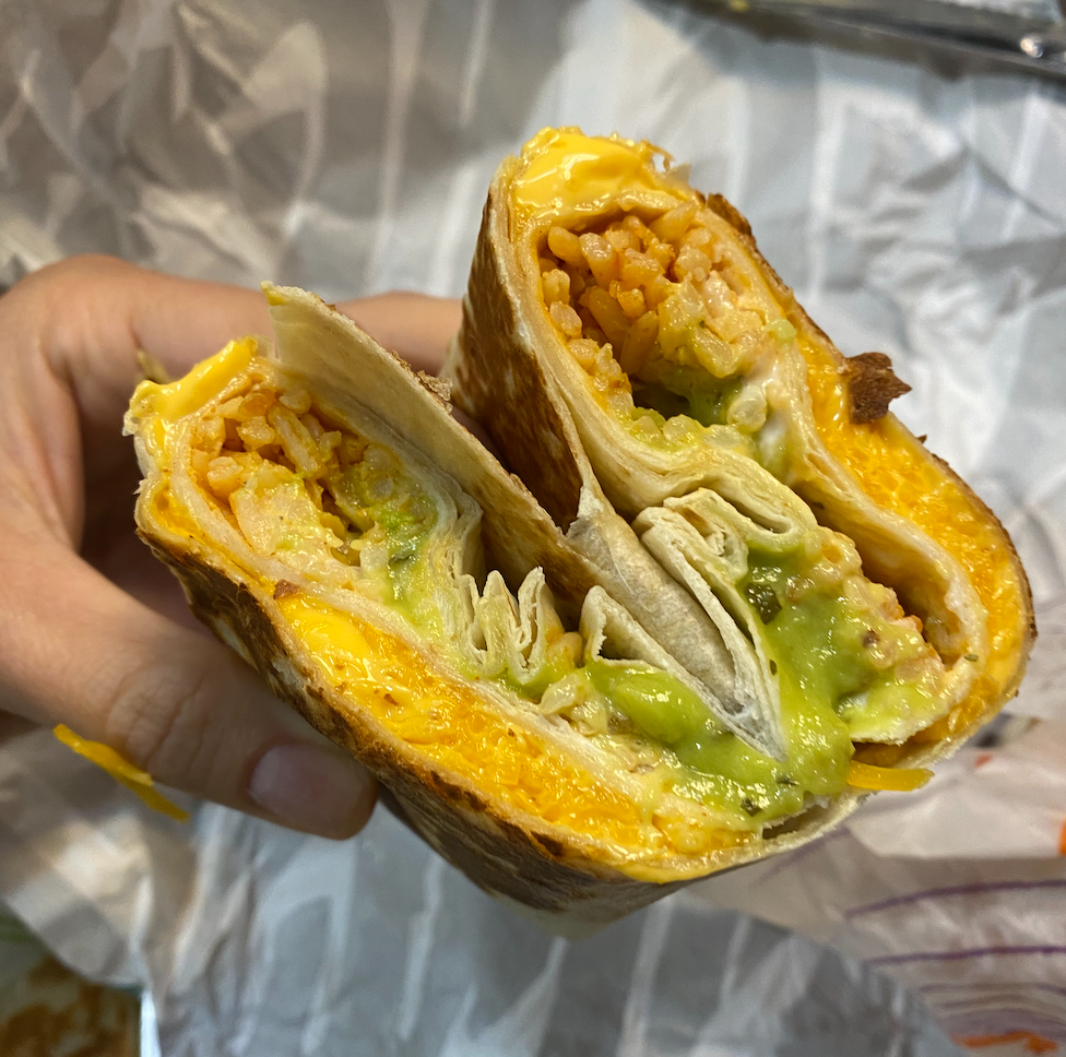 close up of burrito