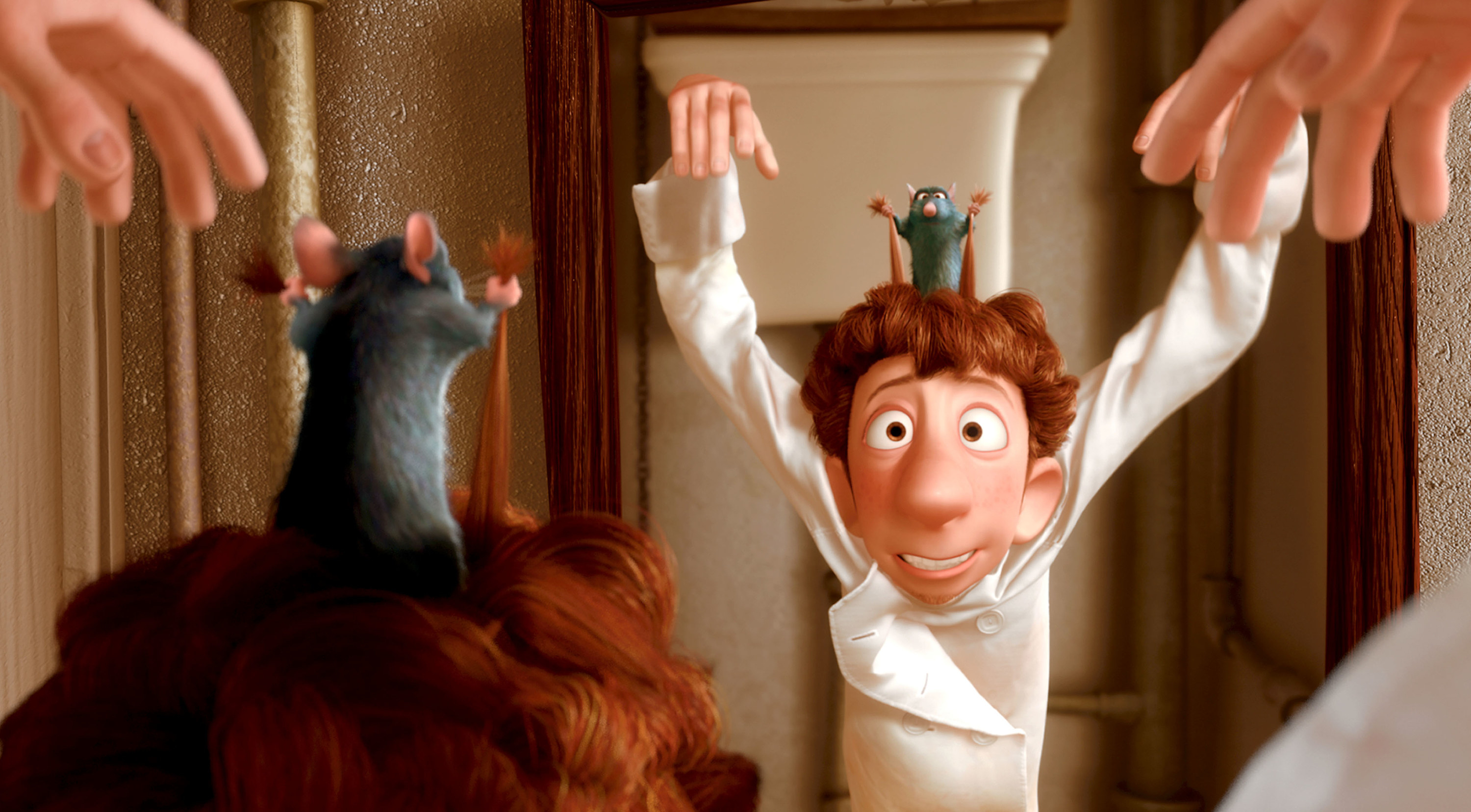 Remy tugging Alfredo's hair causing him to raise his arms
