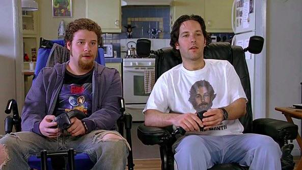 Paul Rudd wearing a shirt with his face on it