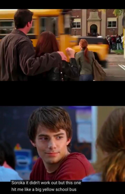 Cady almost hit by a bus and Cady saying, This one hit me like a big yellow bus when she saw Aaron