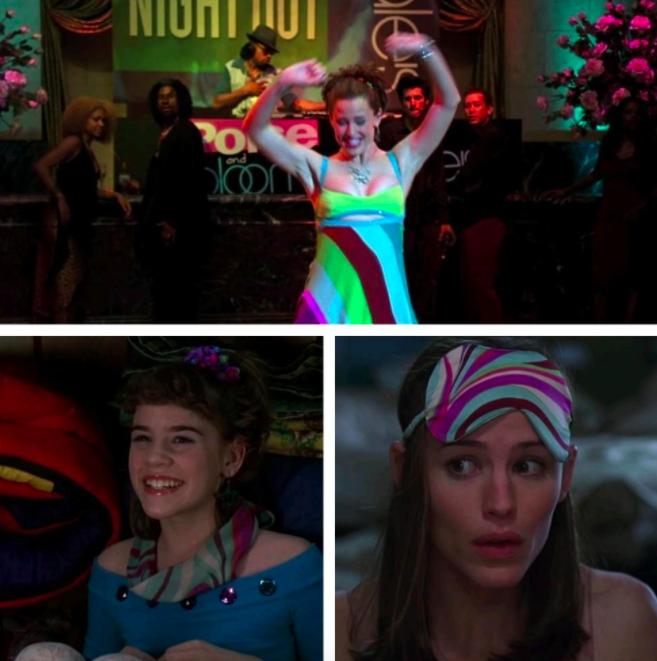 The same material on Jenna's dress, Jenna's blindfold, and Jenna's eyemask