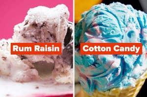 Rum raisin and cotton candy ice cream
