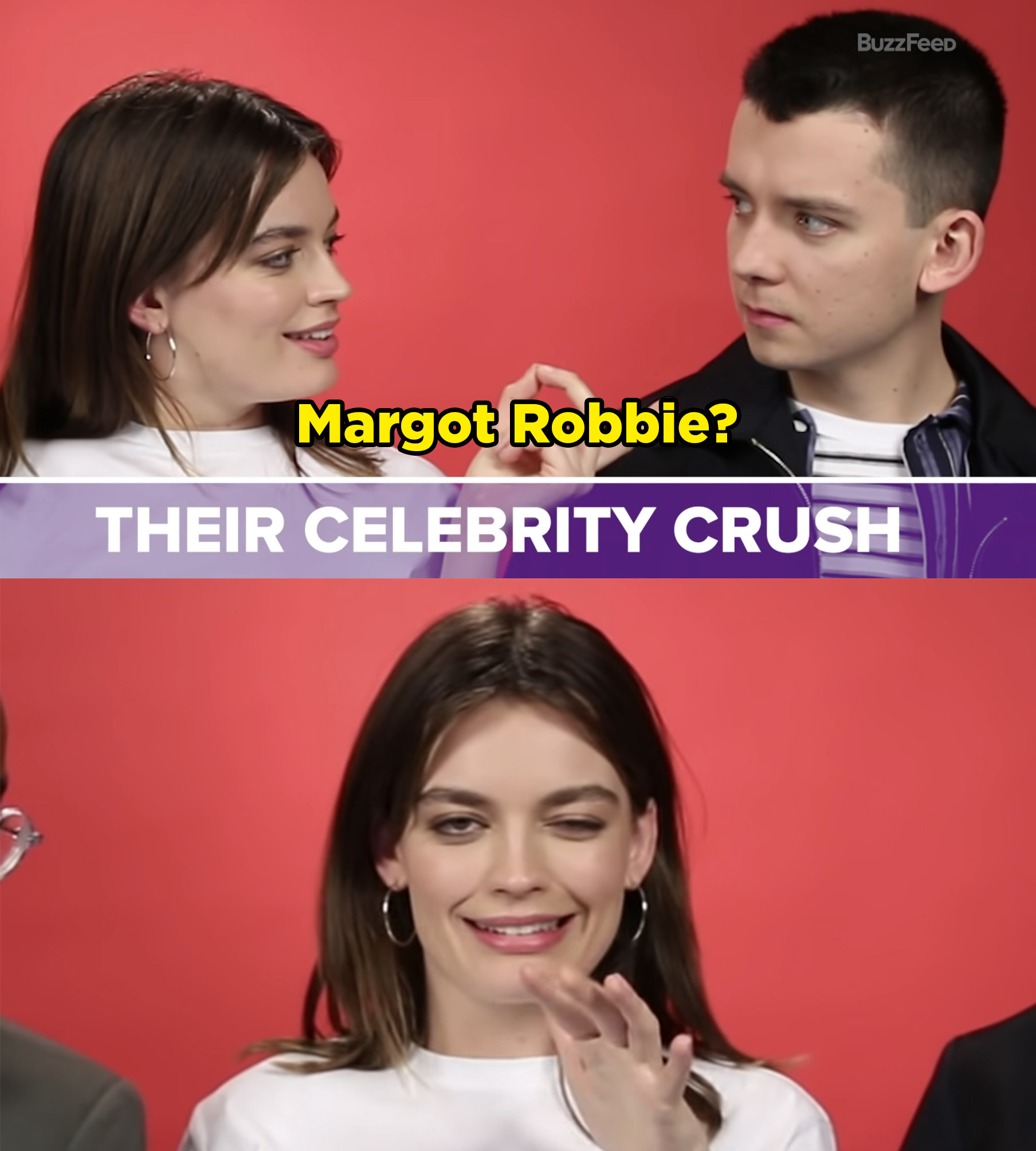 """Emma points at Asa and says """"Margot Robbie?"""" and then makes a kooky face at the camera."""