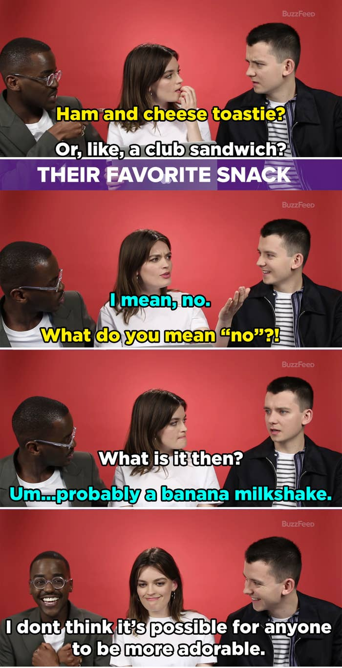 Emma and Ncuti guess that Asa's favorite snack is a sandwich but then he says no and they're shocked. He shares that his real favorite snack is a banana milkshake and Ncuti and Emma bask in Asa's cuteness.