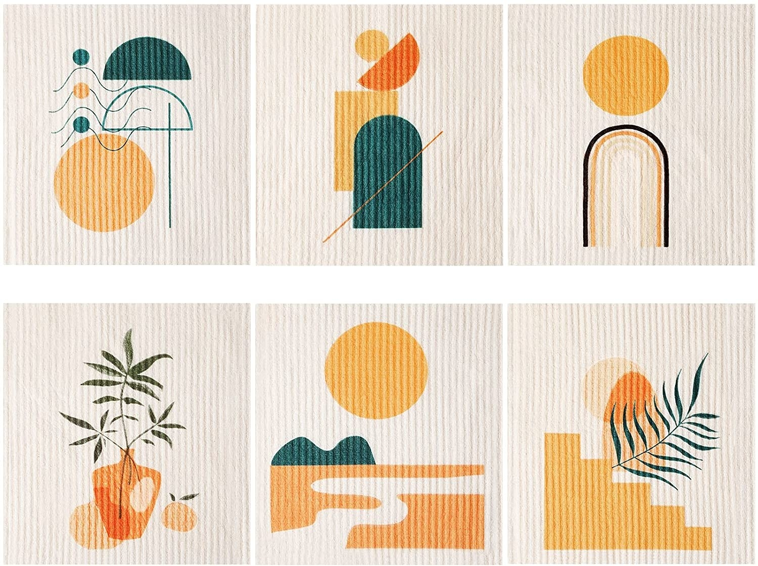 reuseuable dish clothes with geometric designs, plus a couple with leaves and one of the sun over the desert